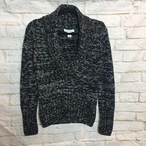 White House Black Market Black White Knit Sweater